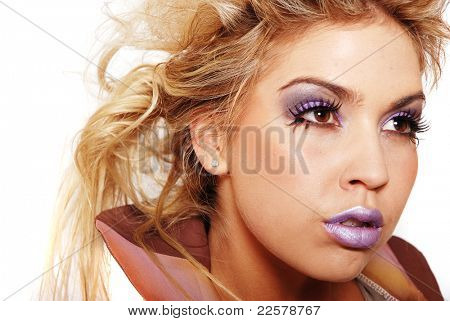 Woman with beautiful hair and makeup