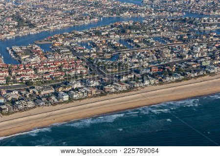 Aerial view of Newport Beach neighborhoods on the Southern California coast.