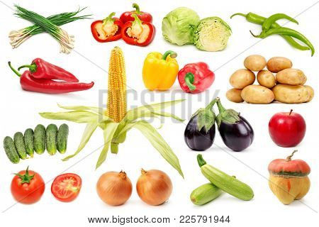 Set useful fruits and vegetables for project isolated on white background