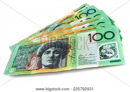 Australian money fanned over white background.  One hundred dollar bills.