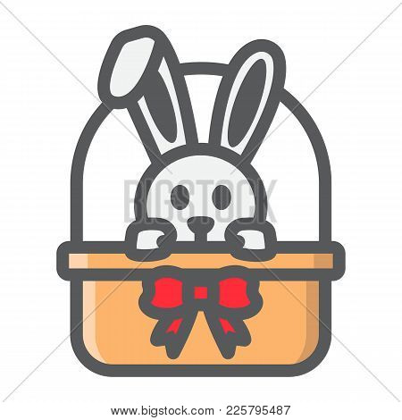 Easter Bunny In Basket Filled Outline Icon, Easter And Holiday, Rabbit Sign Vector Graphics, A Color