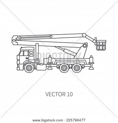 Line Flat Vector Icon Construction Machinery Truck Auto Crane. Industrial Retro Style. Corporate Car