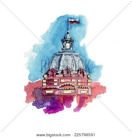 Watercolor Sketch Tower Spire Clock Architecture House