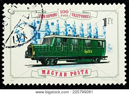 Moscow, Russia - February 08, 2018: A Stamp Printed In Hungary, Shows Old Railbus (1925), Series