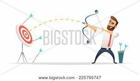 Successful Beard Businessman Character Shoots Or Aiming At The Target. Business Concept Illustration