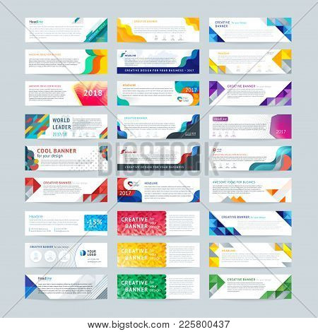 Vector Set Of Abstract Design Templates Horizontal Banner For Web And Print With Place Under Text An