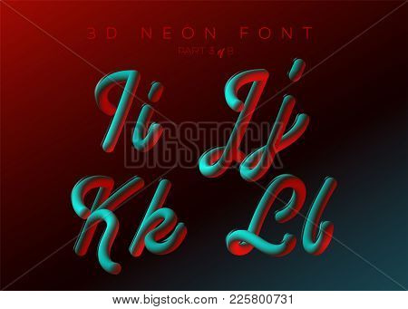 3D Neon Led Font. Liquid Matte Rounded Type. Neon Bubble Typeset With Painted Letters. Tube Hand-dra