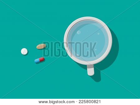 Glass Of Water And Pills. Taking Medication Concept. Medical Drug, Vitamin, Antibiotic. Healthcare A
