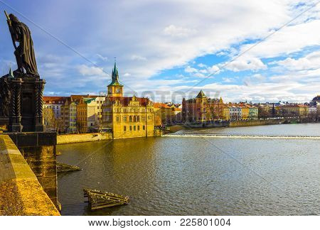 Vltava River Embankment, View From The Charles Bridge, Prague, Bohemia, Czech Republic