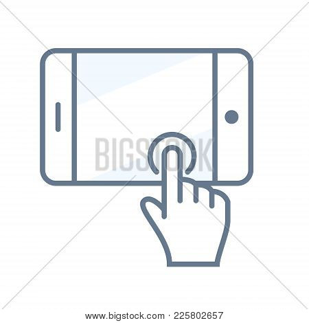 Touchscreen Icon With Tablet Or Smartphone. Vector Illustration
