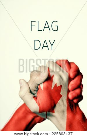 men hands put together patterned with the flag of Canada and the text Flag Day against an off-white background