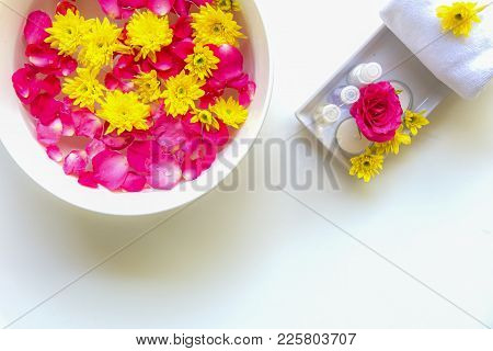 Spa Treatment And Product For Female Feet And Manicure Nails Spa With Pink Rose Flower, Copy Space,