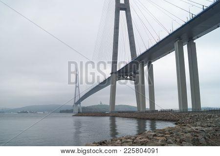 The Russky Bridge Russian Bridge Is A Bridge Across The Eastern Bosphorus. Bridge To The Russian Rus