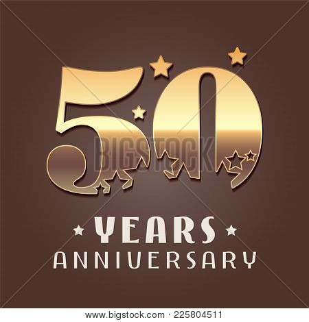 50 Years Anniversary Vector Icon, Logo. Graphic Design Element With Golden Metal Effect Numbers For