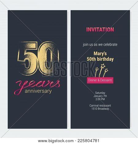 50 Years Anniversary Invitation Vector Illustration. Graphic Design Template With Golden Glitter Sta