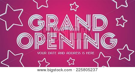 Grand Opening Vector Banner With Abstract Bright Background. Template Design Element For Opening Cer