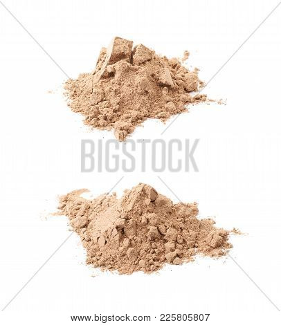 Pile Of Cocoa Protein Powder Isolated Over The White Background , Set Of Several Different Foreshort