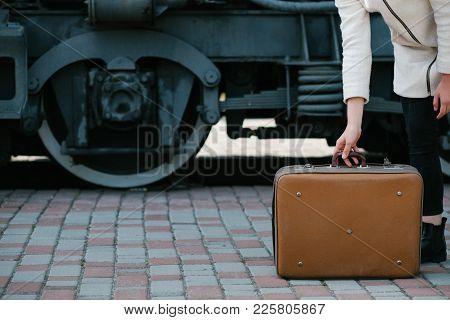 Travel Fashion Accessories. Hipster Vintage Retro Suitcase Style. Transport Journey Destination. Wom
