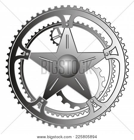 Mechanism With Gears And A Star. Vector Mechanism Illustration