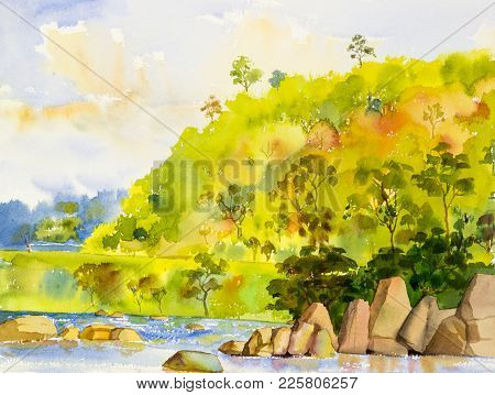 Watercolor Landscape Original Painting Colorful Of River And Mountain Forest With Sky Cloud  Backgro