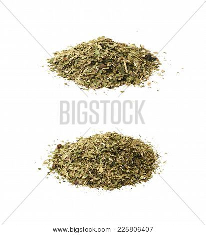 Pile Of Mate Tea Leaves Isolated Over The White Background , Set Of Several Different Foreshortening