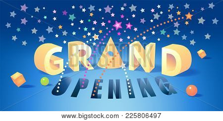 Grand Opening Vector Background. Red Ribbon Cutting Ceremony Design Element With Volumetric Sign For