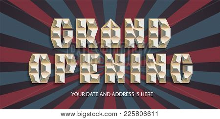 Grand Opening Vector Banner. Abstract Background With Gold Sign Design Element For Poster For Openin