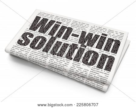 Business Concept: Pixelated Black Text Win-win Solution On Newspaper Background, 3d Rendering
