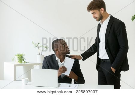 Happy Thankful African American Office Worker Receiving Envelope With Reward Money Bonus From Caucas