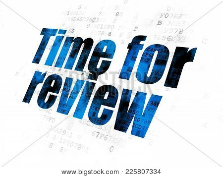 Time Concept: Pixelated Blue Text Time For Review On Digital Background