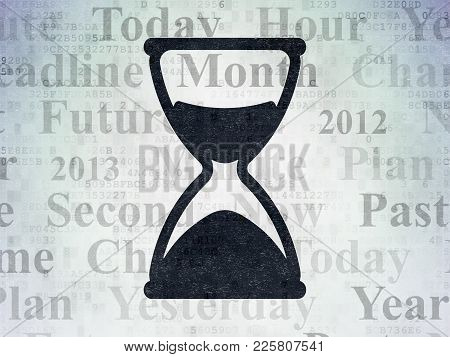 Timeline Concept: Painted Black Hourglass Icon On Digital Data Paper Background With  Tag Cloud