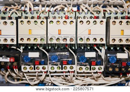 Manyelectrical Wires Connected To The Numbered Relays.