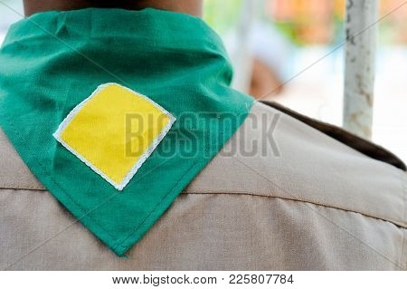 Green,blue And Yellow Frame  Scout Scarf Of Thailand Boy Scout. Concept Is Learning Scout Subject At