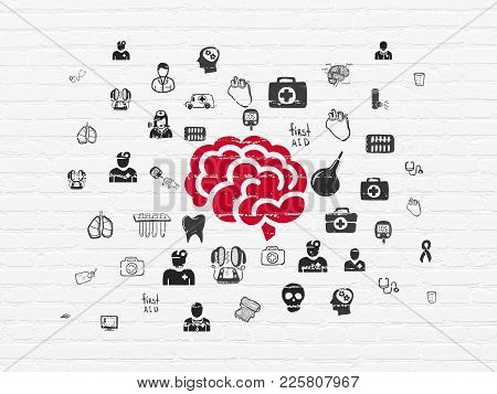 Healthcare Concept: Painted Red Brain Icon On White Brick Wall Background With  Hand Drawn Medicine