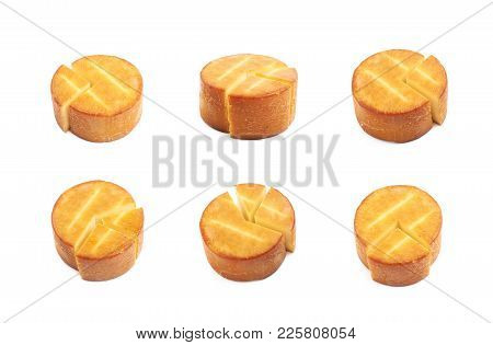 Sliced Wheel Of Cheese Isolated Over The White Background, Set Of Several Different Foreshortenings
