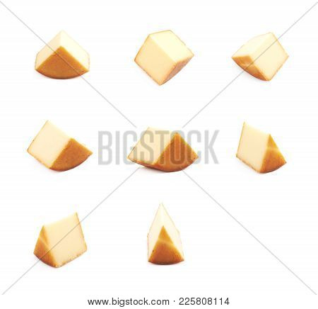 Slice Segment Of A Cheese Wheel Isolated Over The White Background, Set Of Several Different Foresho