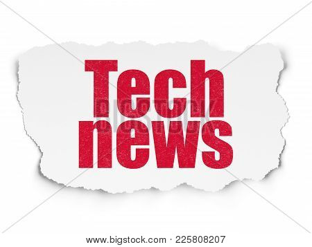 News Concept: Painted Red Text Tech News On Torn Paper Background With  Tag Cloud