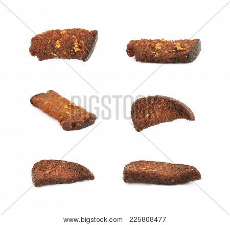 Garlic Seasoned Bread Crouton Stick Isolated Over The White Background, Set Of Several Different For