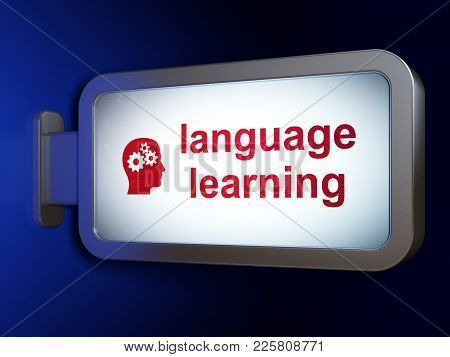 Studying Concept: Language Learning And Head With Gears On Advertising Billboard Background, 3d Rend