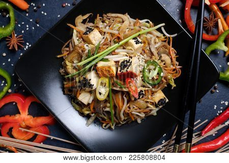 Traditional Asian Cuisine. Food Meals. Vegetable Tofu Salad
