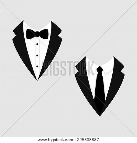 Men's Jackets. Tuxedo. Weddind Suits With Bow Tie And Necktie. Vector Icon.