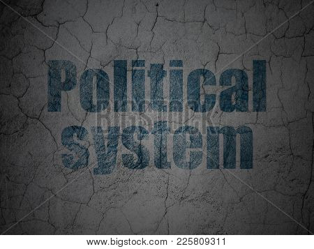 Politics Concept: Blue Political System On Grunge Textured Concrete Wall Background