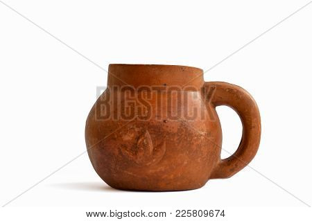 Old Style Pottery Jar Isolated On White Background.water Container For Ancient People.molded From Cl