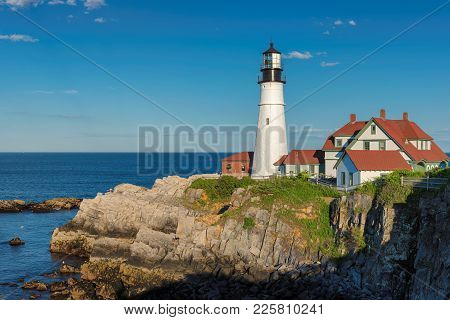 Portland Head Lighthouse In Cape Elizabeth, New England, Maine, Usa.  One Of The Most Iconic And Bea