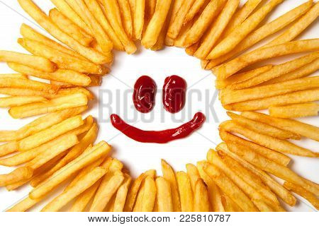 Smiling Sun With Rays. French Fries  And A Face With A Smile From Ketchup Isolated On White Backgrou
