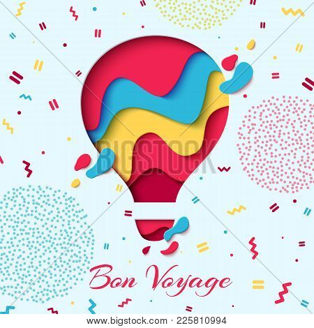Bon Voyage Paper Art Concept Of Hot Air Balloon In Sky With Clouds Over Mountains. Vector Travel Ori