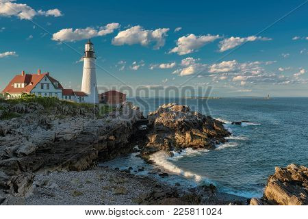 Portland Lighthouse In New England, Maine, Usa.