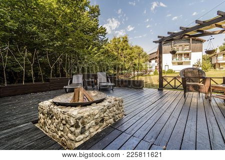 Patio With E Bbq In The Center In The Middle Of A Forest, Sherba, Bulgaria