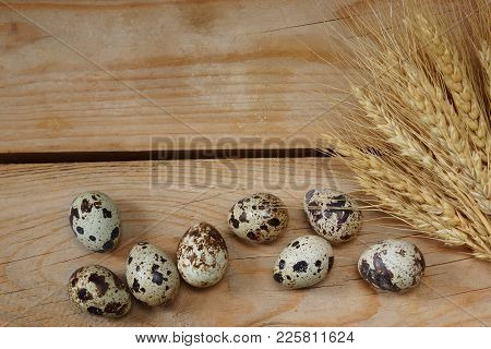 Preparation For Easter, Eggs And Wheat Spikelets.