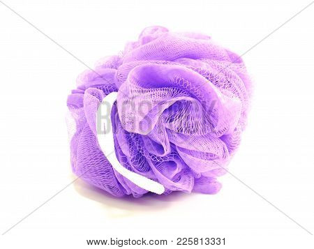 Violet Purple Plastic Bath Puff Isolated On White Background